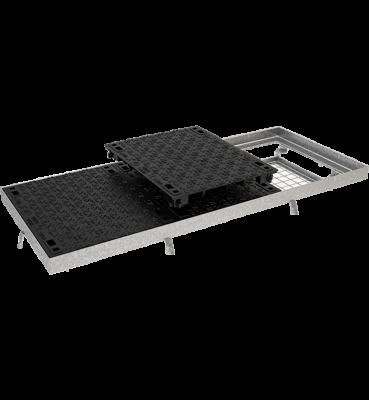 TRAPPES CLASSIQUES type LT C250 à grille anti-chute acier tampon fonte cadre acier