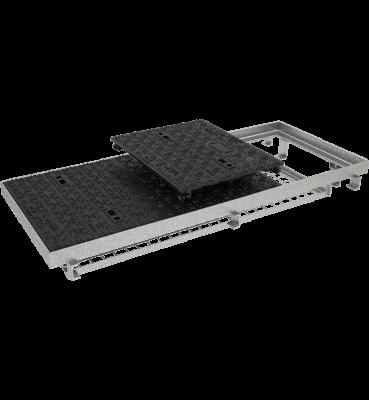 TRAPPES VERROUILLÉES type LCV D400 à grille anti-chute tampon fonte cadre acier grille acier